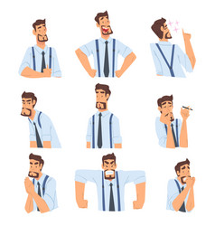 Businessman with various emotions and face vector