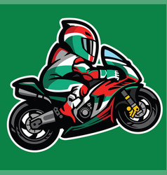 cartoon style of sportbike wheelie vector image vector image