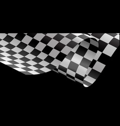 Checkered flag flying wave black background race vector