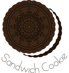 Chocolate and cream sandwich cookie vector