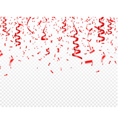 christmas valentines day red confetti with ribbon vector image