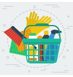 Cleaning items in basket vector