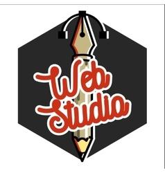 Clolor vintage web studio emblem vector image