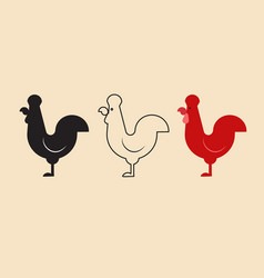 cock simple design with silhouetteline and single vector image