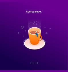 coffee break - modern isometric web banner vector image