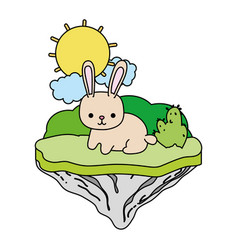 Color happy rabbit animal in the float island vector
