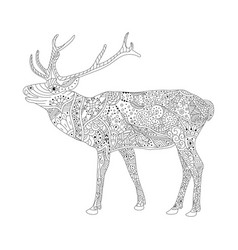 Coloring book page for adults patterned deer vector