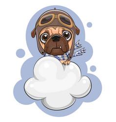 Cute pug dog is flying on a cloud vector