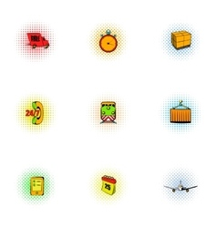 Delivery icons set pop-art style vector