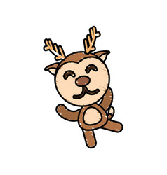 Drawing deer animal character vector
