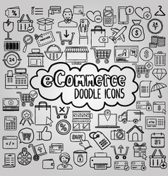 E commerce doodle icons collection vector