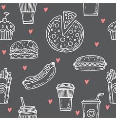 Fast food seamless pattern Hand drawn food vector