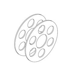 Film reel icon isometric 3d style vector image