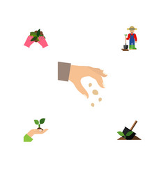 Flat icon sow set of sow man plant and other vector