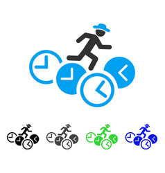 Gentleman running over clocks flat icon vector