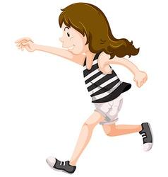 Girl in striped shirt running vector