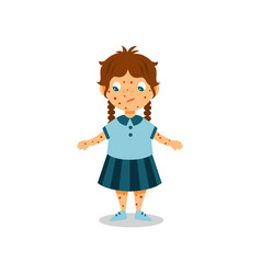 girl with rash on her body and face kid with vector image