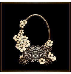 Gold basket with flowers vector image