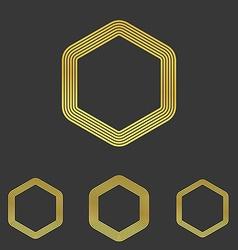 Golden line hexagon logo design set vector