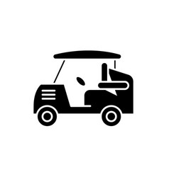 golf car black icon sign on isolated vector image