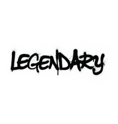 Graffiti legendary word sprayed in black over whit vector