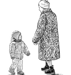 Grandmother and her grandson are on a walk vector