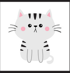 Gray cat sad head face silhouette cute cartoon vector