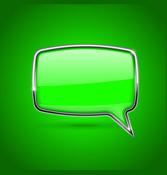 Green speech bubble rectangular 3d icon with vector