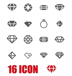 grey diamond icon set vector image