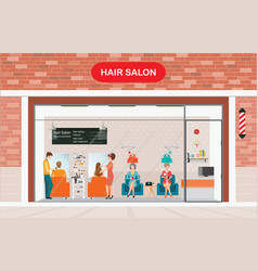 Hair salon building and interior with customer vector