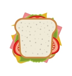 Ham and vegetable sandwich icon vector
