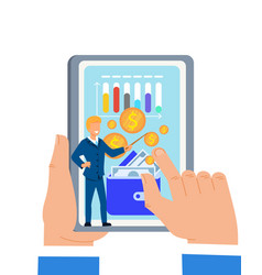hands hold tablet with online financial lecture vector image