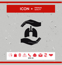 hands holding lungs - protection symbol vector image