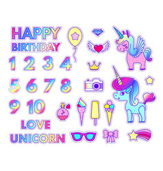 happy birthday stickers set with digits love and vector image