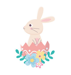 Happy easter day cute rabbit in eggshell flowers vector
