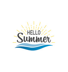 hello summer banner hello summer with sunburst vector image
