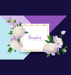 hello summer floral design blooming white peony vector image