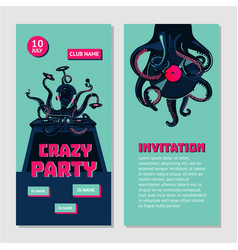hip-hop party bilateral invitation for nightclub vector image