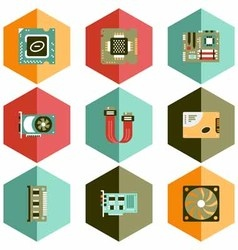 icons computer accessories pc vector image
