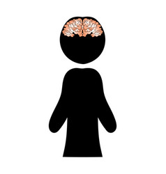 image of a brain against a silhouette of a man vector image