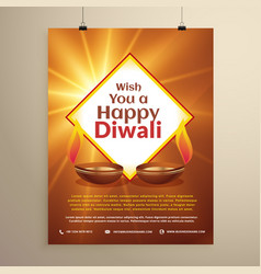 Indian festival of happy diwali greeting card vector