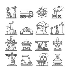 Industrial building factory and power plant icons vector