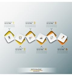 Infographic design template with timeline and 6 vector