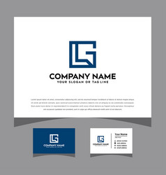 Initials lg logo with a business card vector