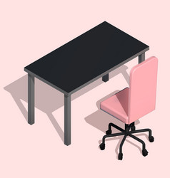 isometric office table and wheelchair modern vector image