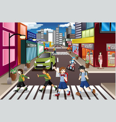 kids crossing the street vector image