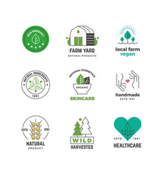 line organic logo green vegan shop label nature vector image
