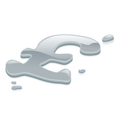Liquid silver metal pound sterling symbol sign vector