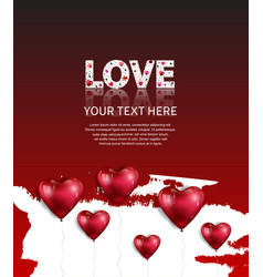 Love text white color with heart balloon on white vector