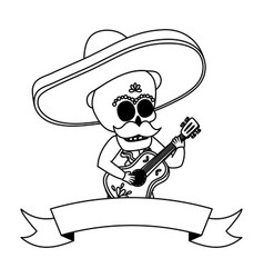 Mexican skull mariachi playing guitar vector